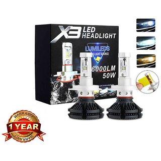 X3 H4 50W 6000LM IP67 Waterproof LED Headlight Bulbs with 1 Year Warranty - Set of 2
