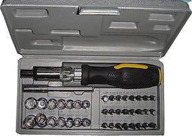 41 Pcs Tool Kit Combination Tool Set With Bits  Sockets