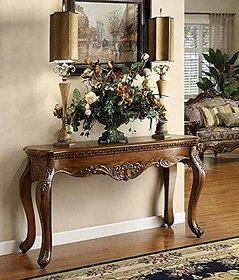 Shilpi Wooden Hand Carved Beautiful Design Decor Royal Console Table for Living Room