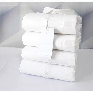 Fashlook White Self Design Cotton Regular Collar Slim Fit Casual Shirts For Men Pack Of 1