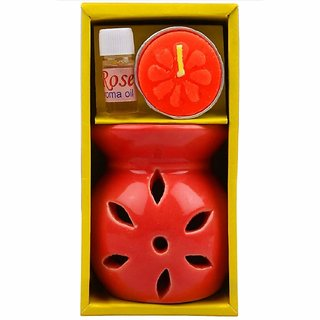 homedecor anurudh Ceramic Aroma Burner Clay Lamp,3 x4 red