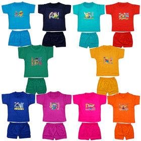 Jisha Baby Boys HalfSleeves Multicolor Cotton T-Shirts and Shorts Joyful Printed Collection (Set Of 10Pcs)