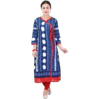 Aprique FAB Jaipur Kurti Women's Blue Printed Angrakha Cotton Kurta