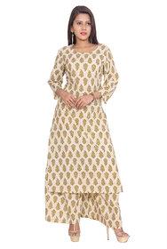 Aprique FAB Jaipur Women's Beige Printed Straight Cotton Kurta