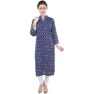 Aprique FAB Jaipur Kurti Women's Blue Geometric Print Straight Rayon Kurta