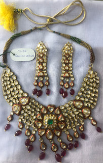 Gold  Diamond Enamel Necklace Set