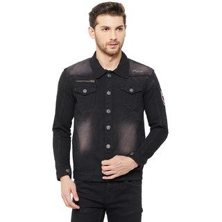 Orijean Men's Denim Black Solid Button Closure Jacket