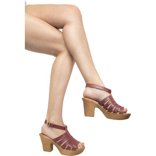 Queen's Feet Stylish Napa PU Leather 3 inch Platform / Block Heels Sandals QF-KARN002