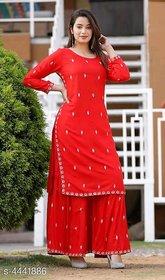 Dhruvi Designer Rayon Women Red Kurta Palazzo Set
