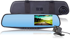 Car Dashcam DVR System Mirror Screen Front Dashboard Camera and Rear View Reverse Parking Camera with Recording