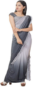 SBSK Women's Zig Zag Grey Stylish Saree with Stitch Blouse