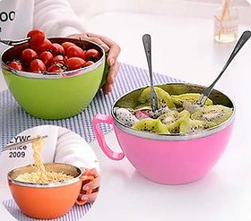 Vessel Crew (Noodle Bowl) Stainless Steel Microwave Safe and BPA-Free Noodles Bowl with Enclosed Handle Lid -Set of 2