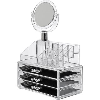 House of Quirk 16 Slot Acrylic Makeup Organizer 3 Drawers with Removable Mirror Cosmetic Organizers 16 Slot 3 Drawer