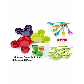Unbreakable Combo  Mickey Shaped  Plate Pack of 3 pcs plate 3 pcs Spoon and 3 pcs-Fork 1 folding glass.