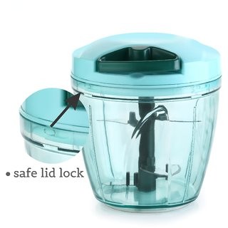 Dori Chopper Jumbo Size 900 ml with 5 Cutting Blades. Vegetable Chopper (Large, 725 ml)