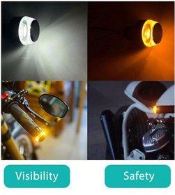 Motorcycle Handlebar End LED Turn Signal Light Handle Bar Grip Side Direction Light Modified 2wheeler