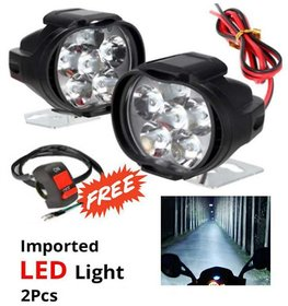 ONE CUSTOM Bike 6 LED 10W Fog Light For Two Wheelers - Set of 2 (On/Off Switch Free)Automobile