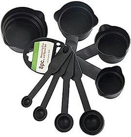 gayatri 8pcs Black Plastic Measuring Spoon Cup Tool Cooking Scoop Kitchen Coffee Baking