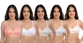 Body Best Atractive Multi Color Back Closed Non Padded Regular Fiting, Straped Bra Combo Of 5 Pcs