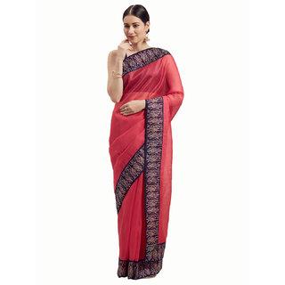 Florence Pink Bhagalpuri Silk Lace Work Saree with Blouse