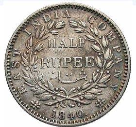 HALF RUPEES 1840 SILVER COIN