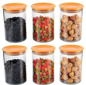 Air-Tight Container Orange 900ml - 900 ml Glass Bread Container, Fridge Container, Honey Jar, Tea Coffee  Sugar Contain
