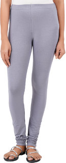 ColourQ Women's Soft Cotton Churidar Leggings with Elasticated Waistband Grey Small