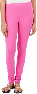 ColourQ Women's Soft Cotton Churidar Leggings with Elasticated Waistband Creamy Pink Small
