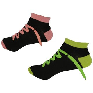 Voici France Shoe Style Low Cut Ankle  Socks Bright Color Pack of 2