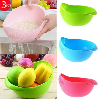 Plastic Vegetable Fruit Basket Rice Wash Sieve Washing Plastic Bowl Colanders (Big) Colors May Vary