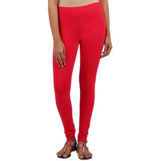 ColourQ Women's Soft Cotton Churidar Leggings with Elasticated Waistband Raspberry Red Small