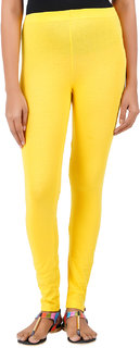 ColourQ Women's Soft Cotton Ankle Leggings with Elasticated Waistband Lemon Small