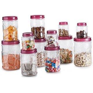 Pink TIK TIK Container Set of 12 1400 ml, 750 ml, 300 ml Plastic Fridge Container, Oil Container, Tea Coffee  Sugar Con