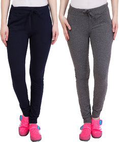 Haoser Slim Fit Cotton Track Pant For Women /Grey And Navy Gym Track Pants For Women Combo Of 2