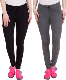 Haoser Slim Fit Cotton Track Pant For Women/ Black And Grey jogger for women  Pack Of 2