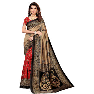 Ruchika Fashion Beige Art Silk Digital Printed Saree With Blouse Material