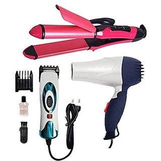 Trendy Trotters Combo of Hair Dryer for Women With 2in 1 straightener Mens Trimmer