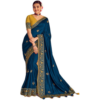 SBSK Women's Fashion Kajal 1114 Designer Saree With Unstitched Blouse (Kimora Saree)