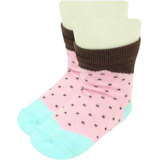 Neska Moda Baby Girls 1 Pair Pink Polka Dot Ankle Length Socks For Age 1-3 Years-OK57