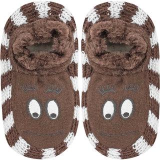 Neska Moda Baby Girls Brown Cotton Indoor Slippers For 4 To 6 Years