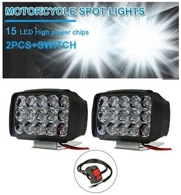 Bike Led Light  Headlights Fog Lamp Lighting   Headlight with Switch For All Motorcycles 15 Led(Free ON/OFF Switch)SS