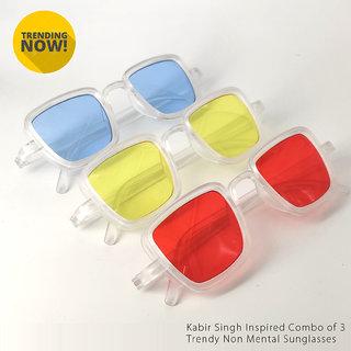 Kanny Devis Kabir Singh Non Metal UV Protected Rectangular Sunglasses Combo of 3 (Red, Blue,Yellow)