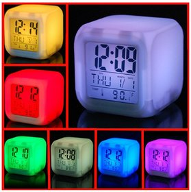 Decor Craft Alarm Clock 7 Colors Changing Digital Alarm Thermometer Cube Calendar Clock Night Glowing Led Clock