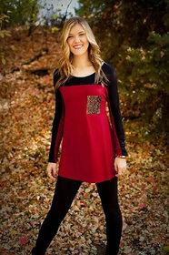 Vivient Women Red Sequeen Pocket Hosery T-Shirt
