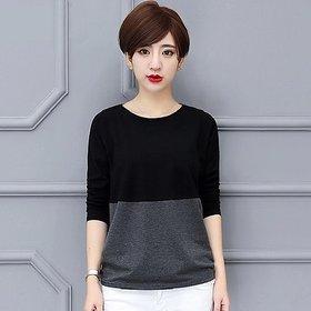Vivient Women Black Dark Grey Colour Block T-shirts