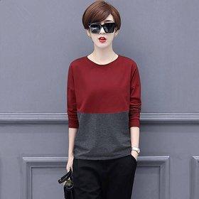 Vivient Women Red Dark Grey Colour Block T-shirts
