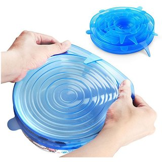 Winner Silicone Food Cover Lids (Blue) -Pack of 6 Stretchable Food Fresh Saver Covers for Bowls, Cups, Pots, Stretch Lid
