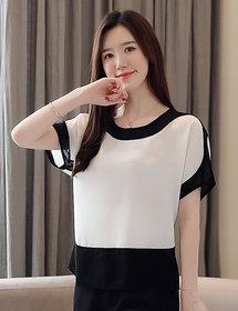 Vivient Women White Plain Round Curved Black Shoulder Rayon Top