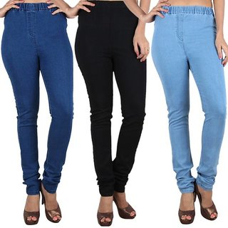 Trusha Dresse Pack of 3 Cotton Denim Jeggings Sky, Navy, and Black Non-Stretchable Size 26 to 28 Inches West