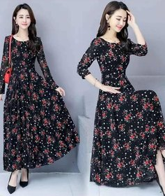Raabta RWD-01025 Black Flower Print Dress
